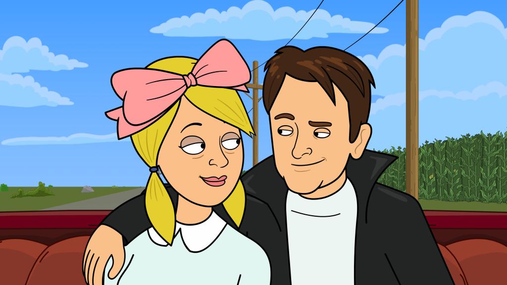 Michael J. Fox and Wanda in Convertible