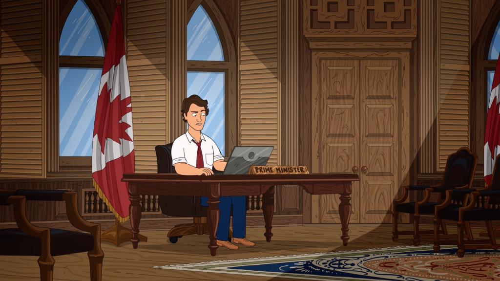 Prime Minister Justin Trudeau at his desk